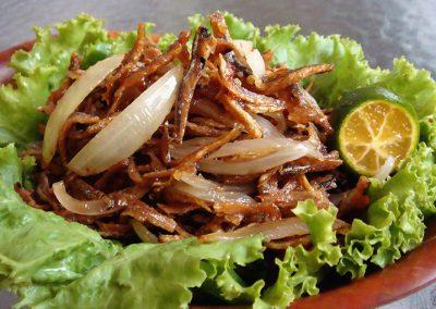 Ikan Bilis with Onion & Chilli Padi and Lime